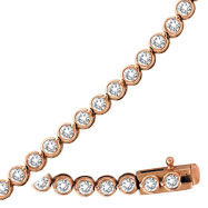 14K Rose Gold Diamond Bezel Set Bracelet