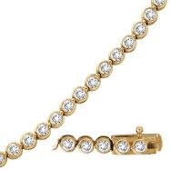 14K Yellow Gold Diamond Bezel Set Classic Bracelet