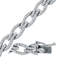 14K White Gold Diamond Twisted Link Bracelet