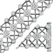 14K White Gold 3.3ct Diamond Wide Filigree Bracelet