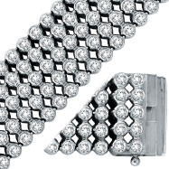 14K White Gold Five Row Diamond Bezel Set Wide Bracelet