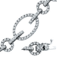 14K White Gold Diamond Oval & Round Link Bracelet