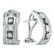 14K White Gold Antique Style .40ct Diamond Bezel French Hoop Earrings
