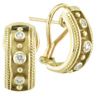 18K Yellow Gold Antique Style .22ct Diamond Bezel French Hoop Earrings