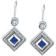 14K White Gold Genuine Precious Sapphire & .14ct Diamond Antique Style Earrings