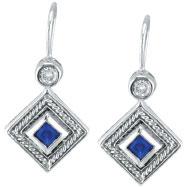 14K White Gold Genuine Precious Sapphire & .14ct Diamond Antique Style Earrings