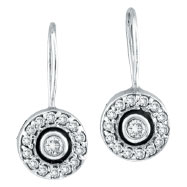 14K White Gold Bezel Set .50ct Diamond Earrings