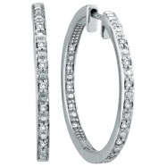 14K White Gold Large .25ct Diamond Hoop Earrings Inside Outside Hoops