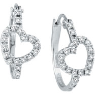 14K White Gold .50ct Diamond Heart Hoop Earrings