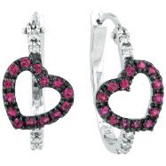 14K White Gold Genuine Precious Pink Sapphire & .13ct Diamond Heart Hoop Earrings