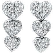 14K White Gold 1.27ct Diamond Triple Graduated Heart Earrings