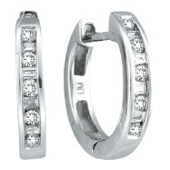 14K White Gold .25ct Diamond Channel Set Hoop Earrings
