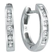 14K White Gold .25ct Diamond Channel Set Hoop Earrings