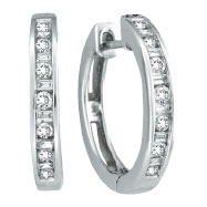 14K White Gold .50ct Diamond Channel Set Hoop Earrings
