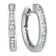 14K White Gold .50ct Diamond Channel Set Hoop Earrings