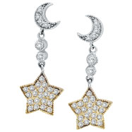 14K Two-Tone Gold .75ct Diamond Moon & Star Earrings