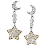 14K Two-Tone Gold .75ct Diamond Moon & Star Earrings