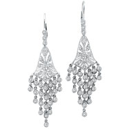 14K White Gold 2.27ct Diamond Chandelier Earrings