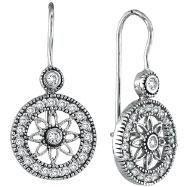 14K White Gold .50ct Diamond Flower in Circle Dangle Earrings