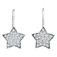 14K  White Gold .50ct Diamond Star Dangle Earrings