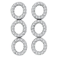 14K White Gold 2.60ct Diamond Triple Oval Earrings