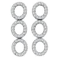 14K White Gold 2.60ct Diamond Triple Oval Earrings