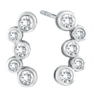 14K White Gold 1.0ct Diamond Bezel Post Earrings