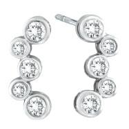 14K White Gold 1.0ct Diamond Bezel Post Earrings