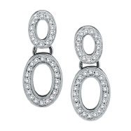14K White Gold Double Oval .61ct Diamond Earrings