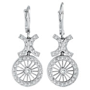 14K White Gold Antique-Style .69ct Diamond Leverback Earrings