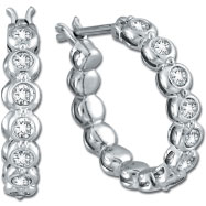 14K White Gold .52ct Diamond Bezel Set Hoop Earrings