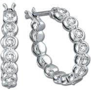 14K White Gold .52ct Diamond Bezel Set Hoop Earrings