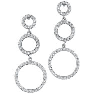 14K White Gold 1.19ct Diamond Graduated Circle Earrings