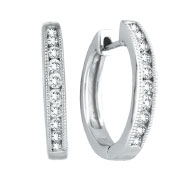 14K White Gold Channel Set .50ct 20-Diamond Hoop Earrings