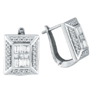 14K White Gold Baguette .90ct Diamond French-Style Hoop Earrings