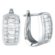 14K White Gold Baguette 1.25ct Princess & Baguette Diamond French-Style Hoop Earrings