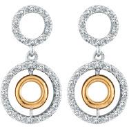 14K Two-Tone Gold .45ct Diamond Triple Cicular Post Earrings