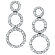 14K White Gold 1.0ct  98-Diamond Triple Circle Graduated Post Dangle Earrings