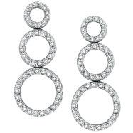 14K White Gold 1.0ct  98-Diamond Triple Circle Graduated Post Dangle Earrings