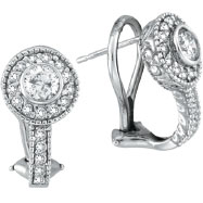 14K White Gold 1.05ct Bezel-Set Diamond French-Style Post Earrings