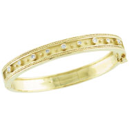 18K Yellow Gold Antique Style Diamond Bangle Bracelet