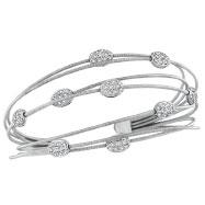 14K White Gold Diamond Brads Cuff Bracelet