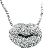 14K White Gold 1.5ct Diamond Lips Pendant On Snake Chain Necklace