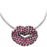 18K White Gold Pink Sapphire Lips Pendant on Snake Chain Necklace