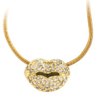 18K Yellow Gold .50ct Diamond Lips Pendant On Snake Chain Necklace