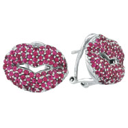 18K White Gold 2.72ct Genuine Precious Pink Sapphire Lips French-Style Post Earrings