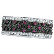 14K White Gold Pink Sapphire and Diamond Eternity Band Ring