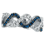 14K White Gold Sapphire & Diamond Swirl Ring