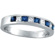 14K White Gold Sapphire and Diamond Princess Cut Band Ring