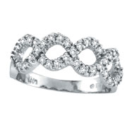 14K White Gold Diamond Swirl Open Circle Ring